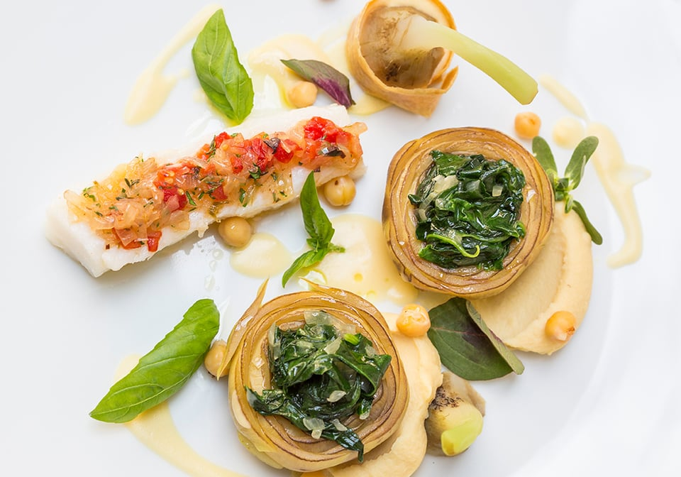 Recipe | Filled mountain artichoke with stock fish and chickpea puree